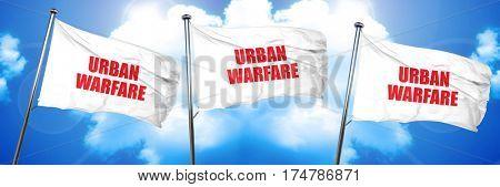 urban warfare, 3D rendering, triple flags