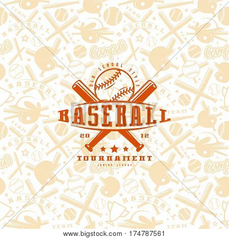 Baseball seamless pattern and emblem. Orange emblem on light background