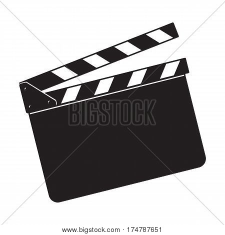 Blank cinema production black clapper board, sketch style vector illustration isolated on white background. Classical traditional cinema, motion picture production clapperboard, clapper board