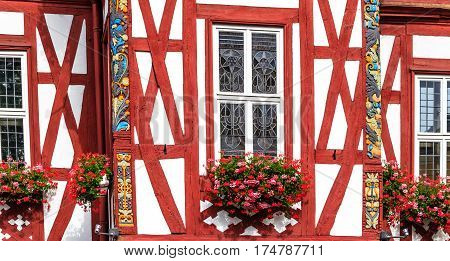 Historical half-timbered building (1607-1609) - now Town Hall on the market square in Nassau, Germany