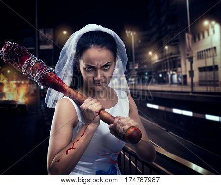 Bride maniac with bloody baseball bat