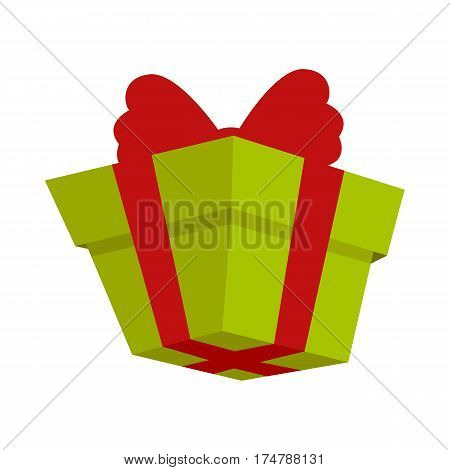 Packing green present icon with red bow in flat style. Box log of delivery company proposing package service, transportation of parcels, deliver gift containers, receiving packs, logistic send vector