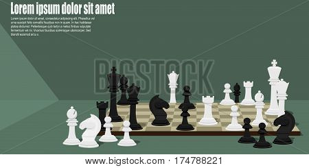 Composition of many Chess pieces on chess board