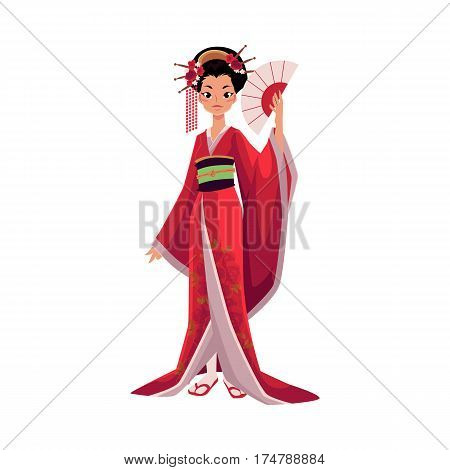 Japanese geisha in kimono holding fan, symbol of Japan, cartoon vector illustration isolated on white background. Full length portrait of typical Japanese geisha in traditional kimono