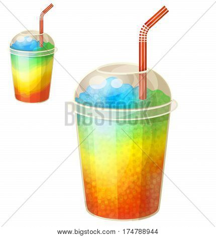Rainbow ice cup Frozen drink. Cartoon vector icon isolated on white background. Series of food and ingredients for cooking