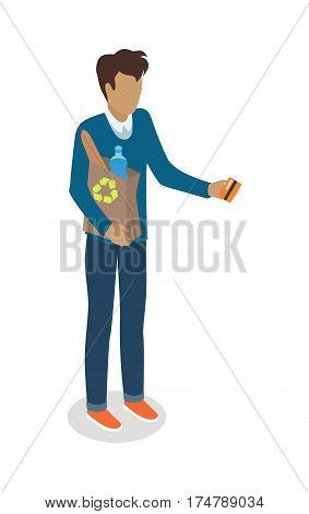 Man with recyclable paper bag and credit card vector illustration. Shopping daily products isometric concept isolated on white background. Male character template make purchases in grocery store icon