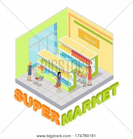 Supermarket juices department interior in isometric projection. Customers choosing goods in grocery store trading hall vector illustration. Daily products shopping concept isolated on white background