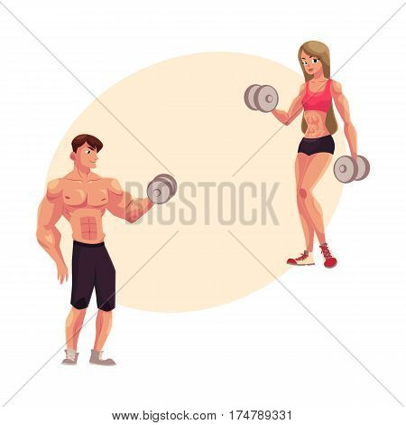 Man and woman bodybuilders, weightlifters working out, training with dumbbells, cartoon vector illustration with place for text. Full length portrait of man, woman bodybuilders with dumbbells