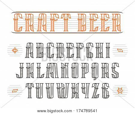 Decorative serif font in retro style. Design for the labels and logos. Print on white background