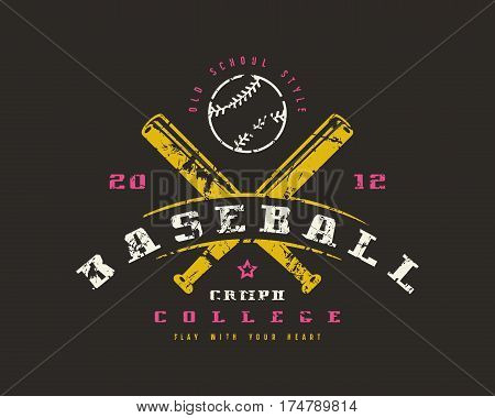 Emblem Of Baseball Championship. Graphic Design For T-shirt