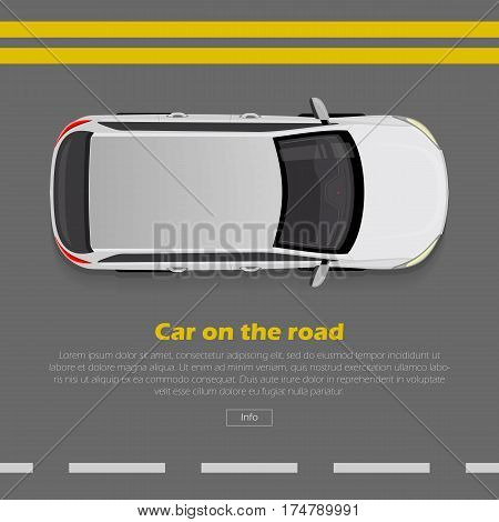 Car on road conceptual web banner. Grey hatchback goes on highway flat style vector illustration. Modern urban transport and city traffic concept. For travel or car rental company landing page design