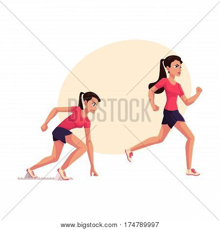Young and pretty female runner, sprinter, jogger, ready to start and running, cartoon vector illustration with place for text. Woman, girl running, sprinter, track and field, competition