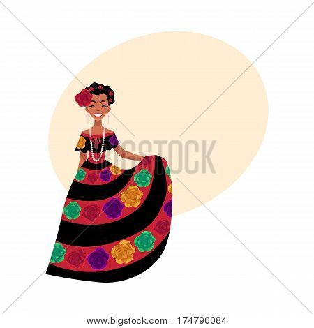 Mexican woman in traditional national dress decorated with embroidered flowers, cartoon vector illustration with place for text. Full length portrait of Mexican woman in national dress
