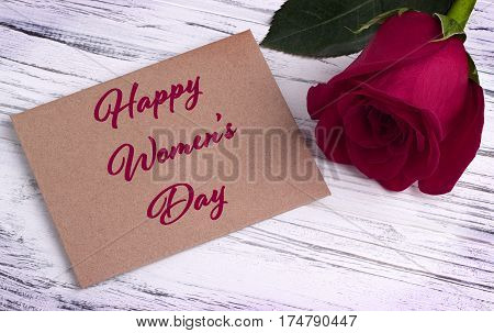 Red Rose And And Envelope For Valentines Day Womens Day Greeting Card And Lettering Happy Women's Da