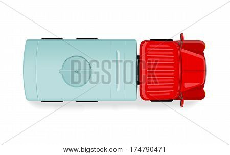 Truck with tanker top view icon. Lorry with cistern vector illustration isolated on white background. Cargo transportation. Commercial auto. For transport company ad, infographics, logo, web design