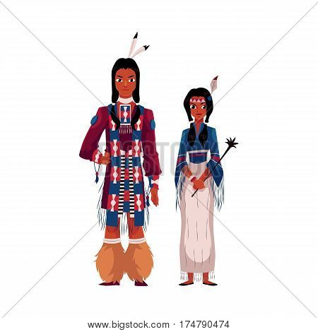 Native American Indian couple in national clothes, wearing tribal fringed shirts, cartoon vector illustration isolated on white background. Native American, Indian people in national clothes