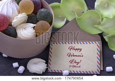 Bouquet Of Green Yellow Callas With Marshmallows Marmalade In A Wooden Round Box And Envelope On Gra
