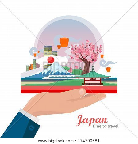 Japan tourism poster design with attractions. Hand holding japanese composition. Time to travel. Japan landmark. Japan travel poster design in flat. Travel composition with famous landmarks.