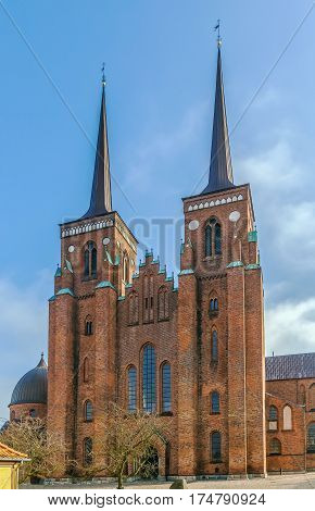Roskilde Cathedral is a cathedral of the Lutheran Church of Denmark. The first Gothic cathedral to be built of brick it encouraged the spread of the Brick Gothic style throughout Northern Europe.