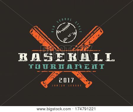Emblem Of Baseball Tournament. Graphic Design For T-shirt
