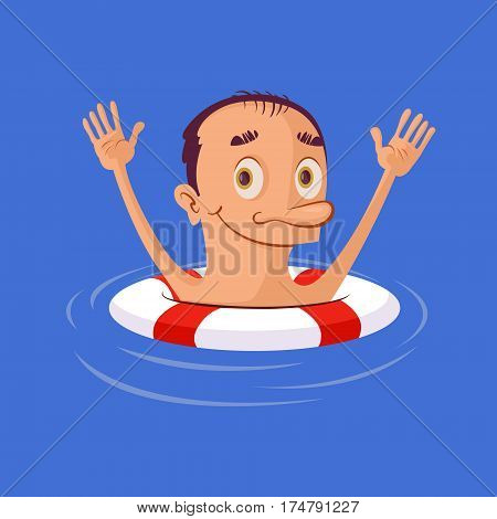illustration of smiling man in lifebuoy. Vector cartoon