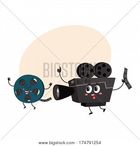 Movie shooting camera and film reel characters with smiling human faces, cartoon vector illustration with place for text. Smiling movie shooting camera and cinema film characters, mascots