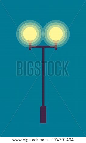 Illustration of isolated street lamp on dark blue background. Torch with long metal pillar and two lighted round lamps. Bright yellow light at evening eventide in cartoon style flat design vector