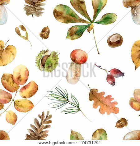 Bright autumn seamless pattern with leaves, berries, mushrooms and other elements. Watercolor illustration