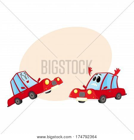 Two funny red car characters, one dismayed and despaired, another laughing happily, cartoon vector illustration with place for text. Couple of red car characters, mascots, laughing and sad