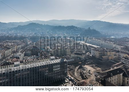 View of the historic center of Turin and its hills from the Mole Antonelliana, Italy