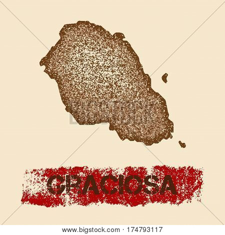 Graciosa Distressed Map. Grunge Patriotic Poster With Textured Island Ink Stamp And Roller Paint Mar