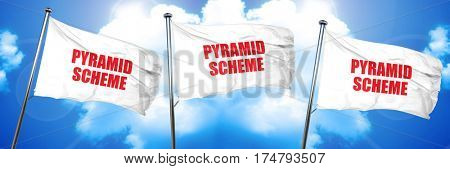 pyramid scheme, 3D rendering, triple flags