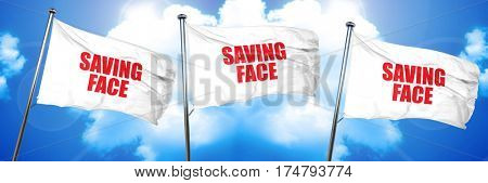 saving face, 3D rendering, triple flags