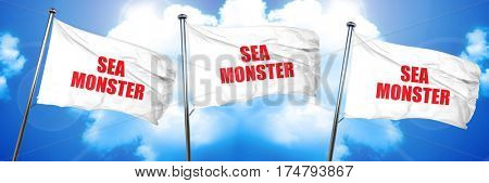 sea monster, 3D rendering, triple flags