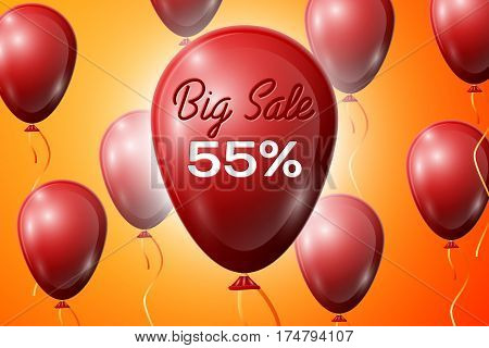 Red Balloons with an inscription Big Sale fifty five percent Discounts. SALE concept for shops store market, web and other commerce. Vector illustration.