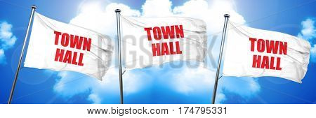 town hall, 3D rendering, triple flags