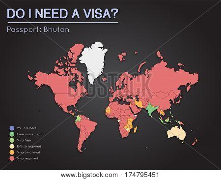 Visas Information For Kingdom Of Bhutan Passport Holders. Year 2017. World Map Infographics Showing