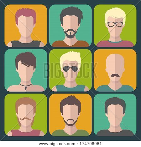 Vector set of different man app icons in flat style