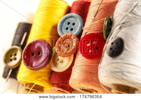 Thread Bobbins, Buttons And Needles