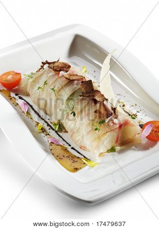 Branzino (Sea Bass) Carpaccio with Rucola (Arugula), Cheese Parmesan and Tartufo Bianco (White Truffle)