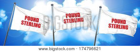 pound sterling, 3D rendering, triple flags