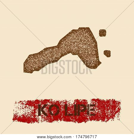 Ko Lipe Distressed Map. Grunge Patriotic Poster With Textured Island Ink Stamp And Roller Paint Mark