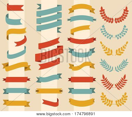 Big vector set of wreaths, laurels and ribbons in modern flat style