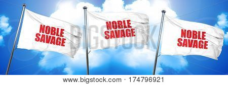 noble savage, 3D rendering, triple flags