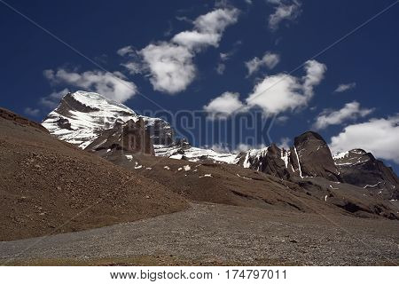 Slope and rocks at the West Face of Sacred Mount Kailash in Western Tibet.