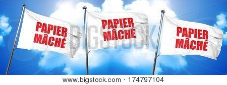 papier mache, 3D rendering, triple flags