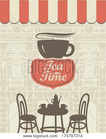 Banner for a sidewalk cafe with a facade of the old building and furniture