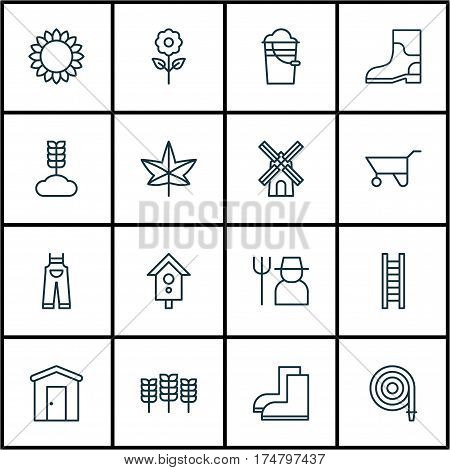 Set Of 16 Garden Icons. Includes Wheat, Decorative Plant, Cereal And Other Symbols. Beautiful Design Elements.