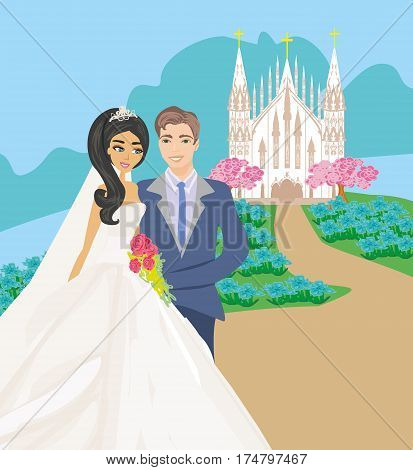 Wedding couple in front of a church , vector illustratrion
