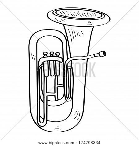 Isolated outline of a tuba, Vector illustration